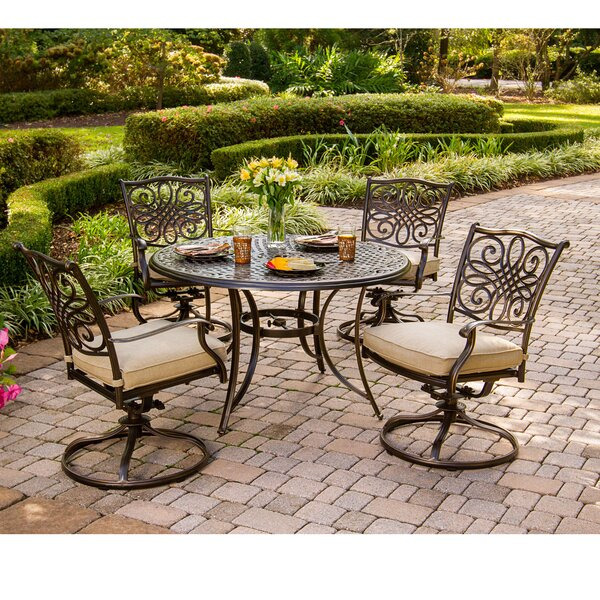 Carleton 5 Piece Dining Set with Cushions with Umbrella by Fleur De Lis Living