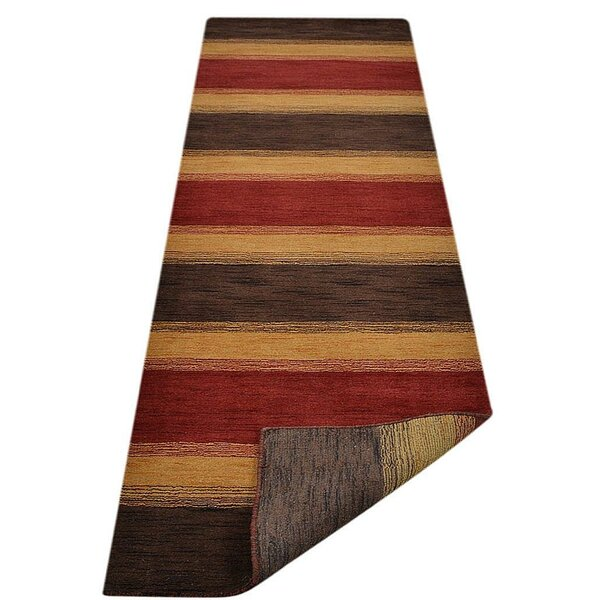 Creager Hand-Tufted Wool Brown/Gold/Red Area Rug by World Menagerie
