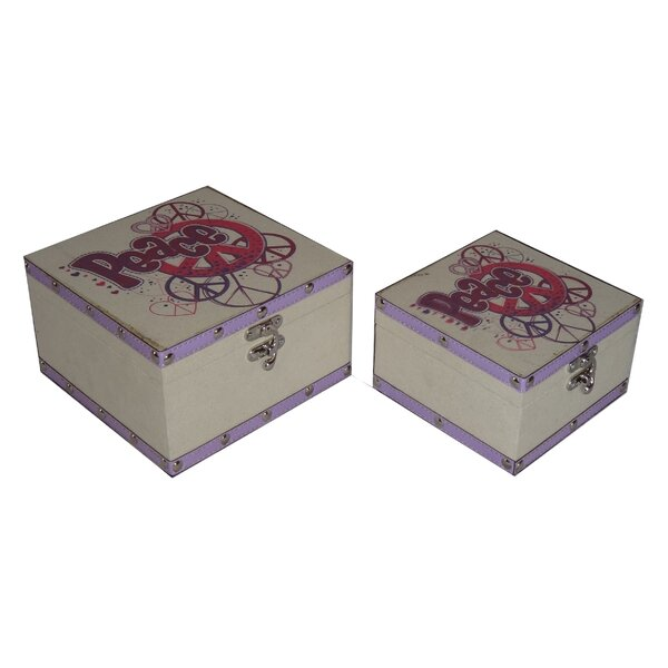 2 Piece Flat Top Square Keep Sake Box with Colorful Peace Design Set by Cheungs
