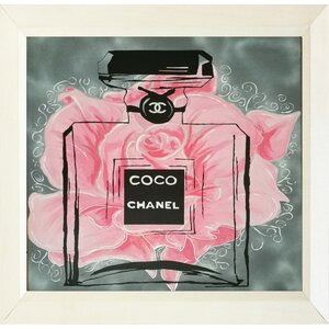 'Pink Rose Floral Coco Chanel' Framed Painting Print by Buy Art For Less