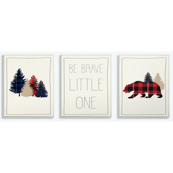 Fedler Be Brave Little One Plaid Trees and Bear Decorative Plaque (Set of 3) by Harriet Bee
