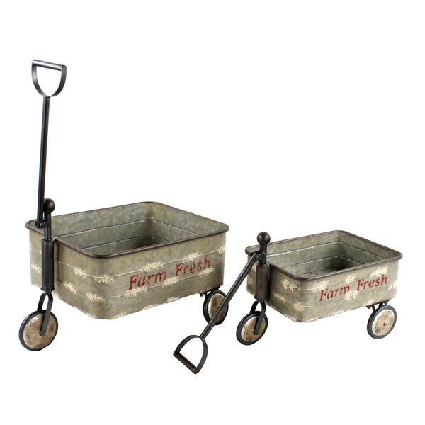 Alize Farm Style Wagons 2-Piece Iron Wheelbarrow Planter Set by Gracie Oaks