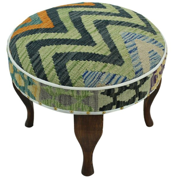 Strecker Kilim Upholstered Handmade Ottoman by Bloomsbury Market