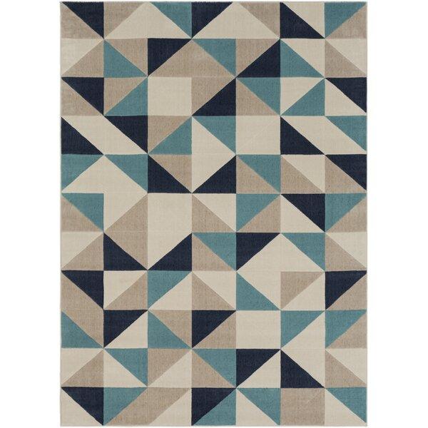 Huerta Geometric Beige/Blue Area Rug by Wrought Studio