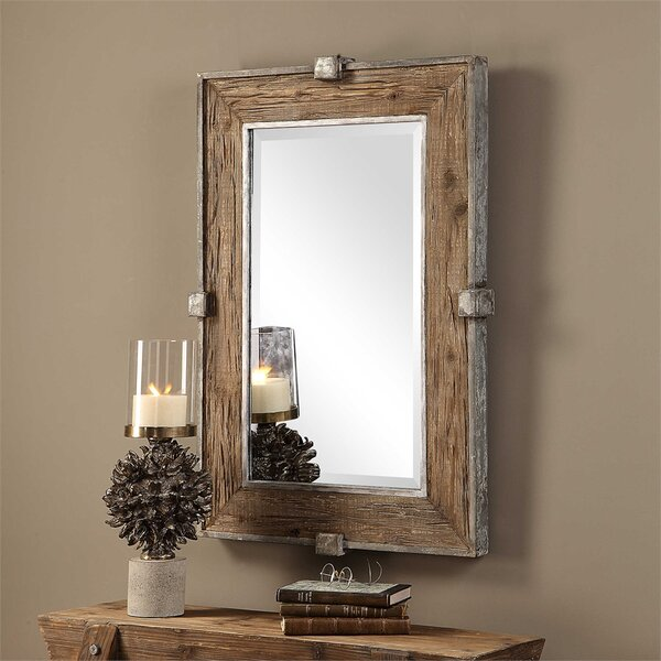 Maleah Weathered Wood Accent Mirror by Gracie Oaks