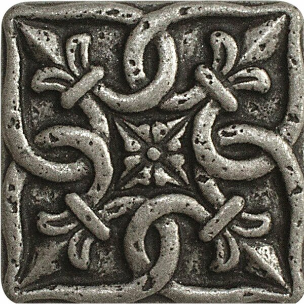 2 x 2 Renaissance Deco Accent Tile in Pewter by Parvatile