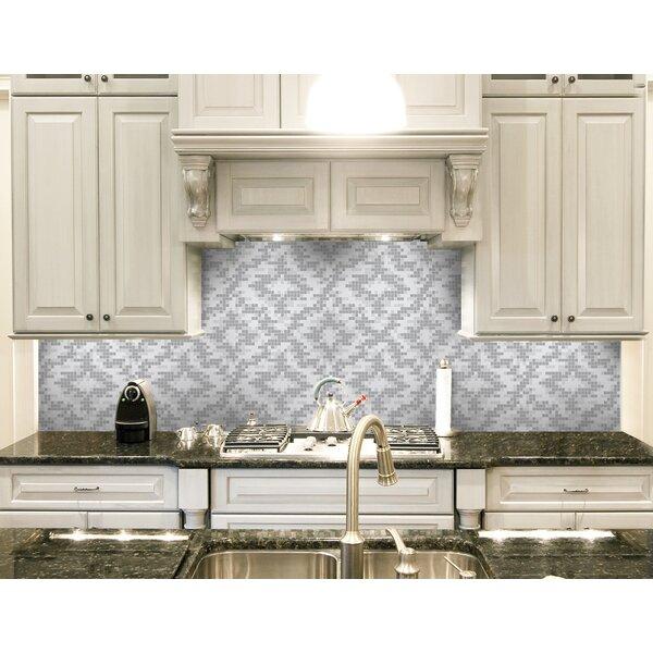 Urban Essentials Cepko Ikat 3/4 x 3/4 Glass Glossy Mosaic in Calm Grey by Mosaic Loft