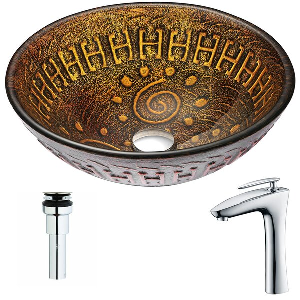 Opus Glass Circular Vessel Bathroom Sink with Faucet by ANZZI
