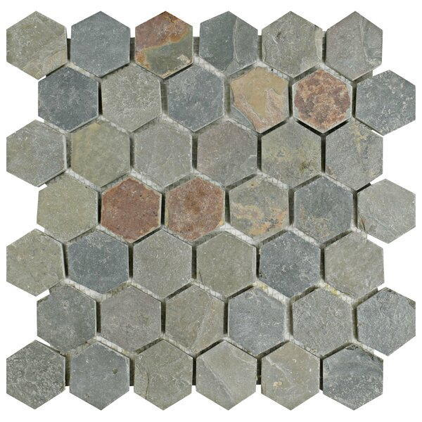 Peak Hexagon 1.88 x 1.88 Slate Mosaic Tile in Gray by EliteTile