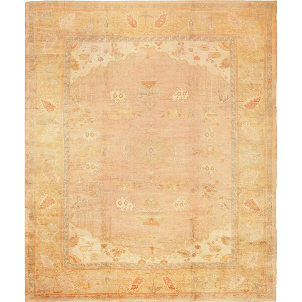 One-of-a-Kind Turkish Hand-Knotted 1900s Gold 13'3 x 15'6 Wool Area Rug