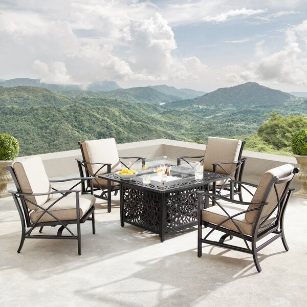 Traci 5 Piece Dining Set with Cushions and Firepit by Fleur De Lis Living