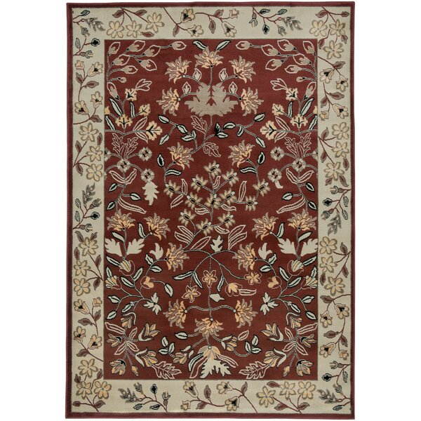 Culver Floral/Geometric Red Area Rug by Threadbind