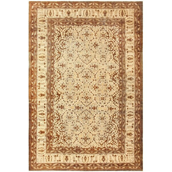 One-of-a-Kind Amritsar Hand-Knotted 1900s Brown 8'8 x 12'9 Wool Area Rug