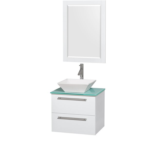 Amare 24 Single White Bathroom Vanity Set with Mirror by Wyndham Collection