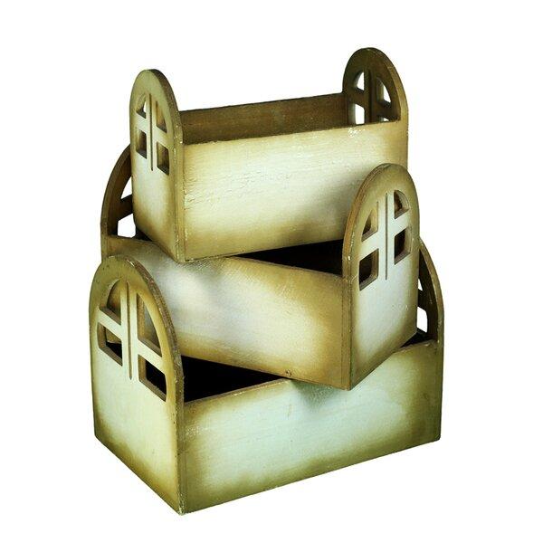 3-Piece Wooden Pot Planter Set by Entrada