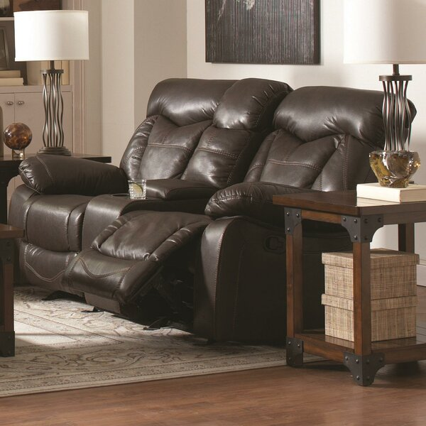 Best #1 Pomona Motion Leather Reclining Sofa By Loon Peak Discount