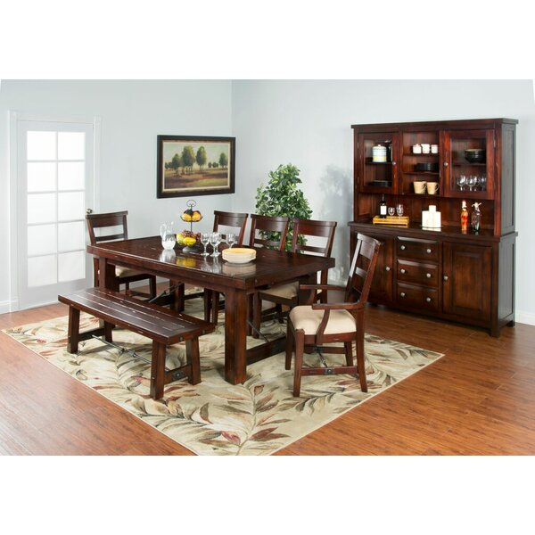 Midvale Extension in Rustic Mahogany Solid Wood Dining Table by Loon Peak