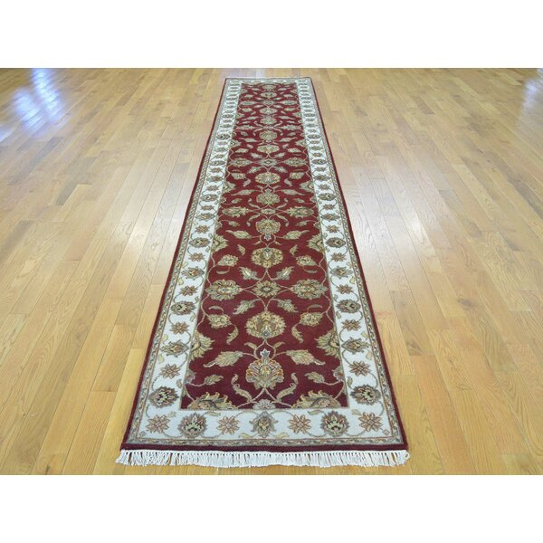 One-of-a-Kind Bear Hand-Knotted Red Wool/Silk Area Rug by Isabelline
