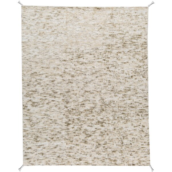 Moroccan Abstract Hand-Knotted Wool Beige/Ivory Area Rug