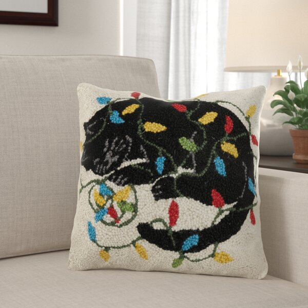 Fortin Holiday Cat with Lights Hook Wool Throw Pillow by The Holiday Aisle