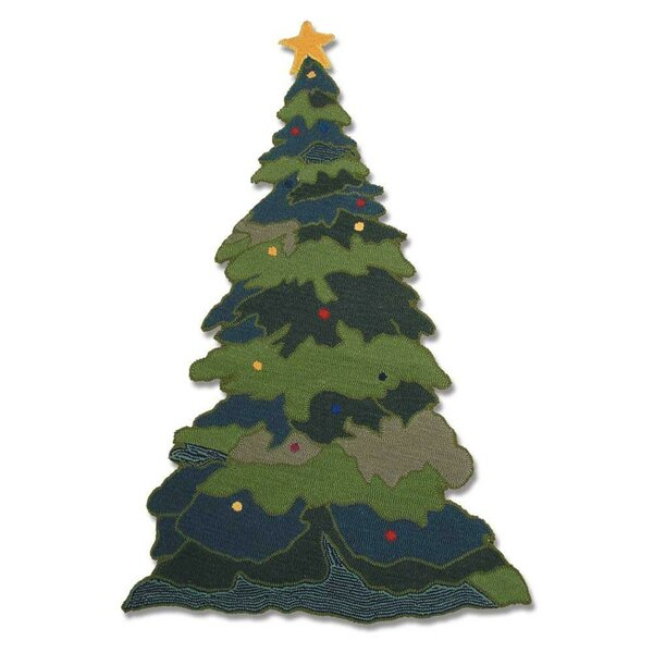 Santa By The Fireside Green Area Rug by Patch Magic