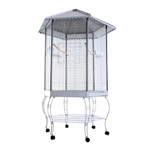 Franconia Covered Canopy Portable Aviary Flight Bird Cage with Storage Shelf by Tucker Murphy Pet