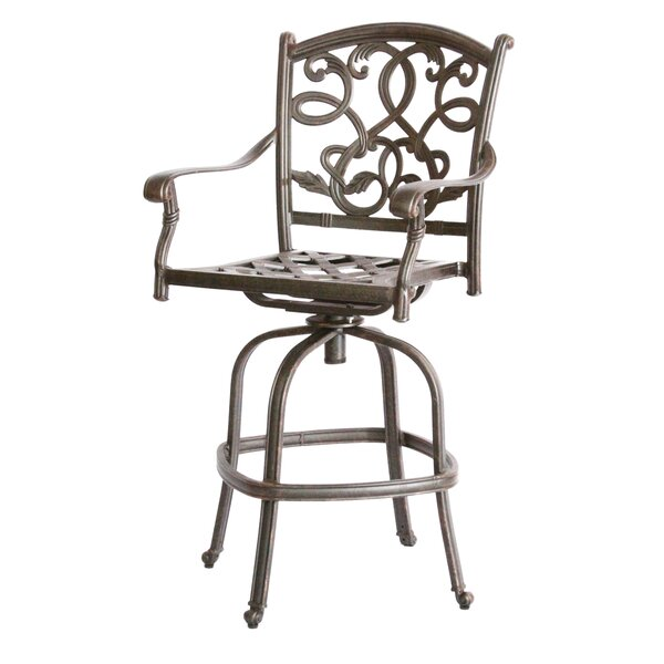 Windley 30 Patio Bar Stool with Cushion by Fleur De Lis Living