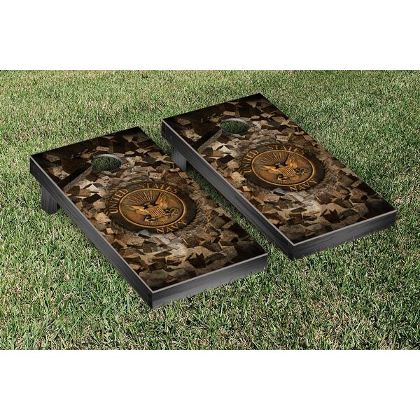 Navy Bricks Cornhole Game Set by Victory Tailgate