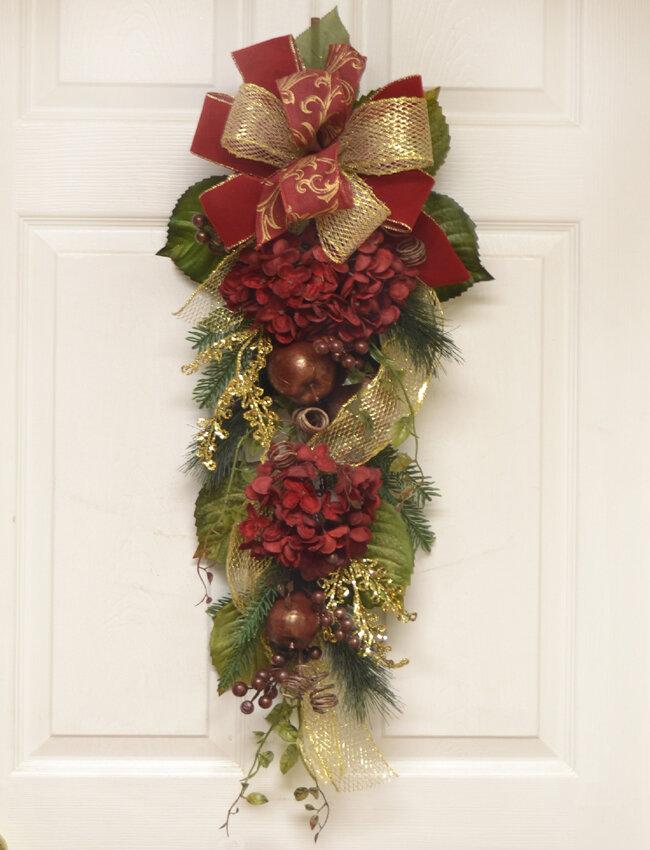 Floral Home Decor Burgundy Hydrangea Winter Door Swag