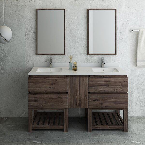 Formosa Open Bottom 60 Double Bathroom Vanity Set with Mirror
