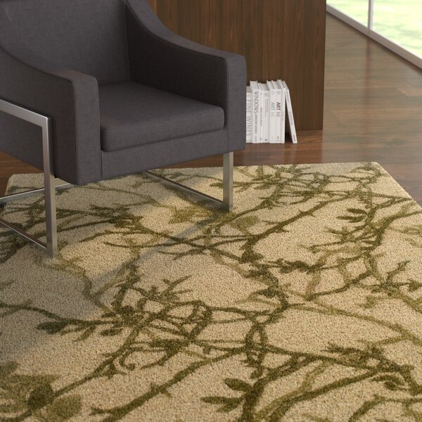 Alesha Hand-Tufted Green/Beige Area Rug by Ebern Designs