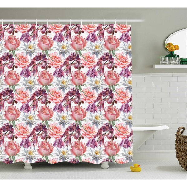 Anjali Rose and Lily Flowers Shower Curtain by Rosdorf Park