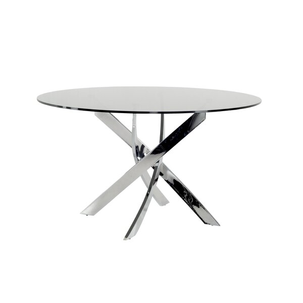 Camron Modern Tempered Glass Top Dining Table by Orren Ellis