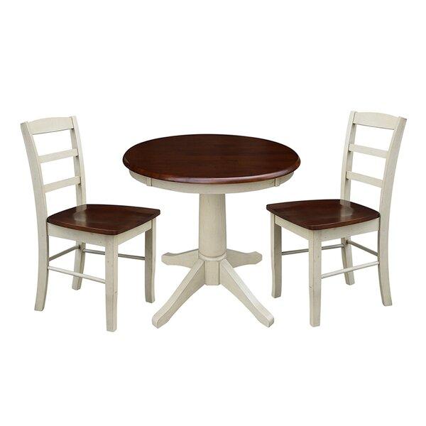Sybil 3 Piece Solid Wood Dining Set by Rosalind Wheeler Rosalind Wheeler