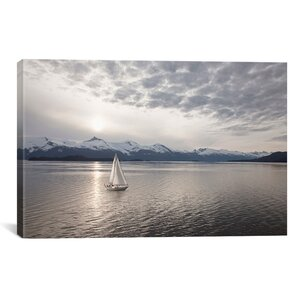 'Sailing at Sunset, Alaska '09' Photographic Print on Wrapped Canvas by Beachcrest Home