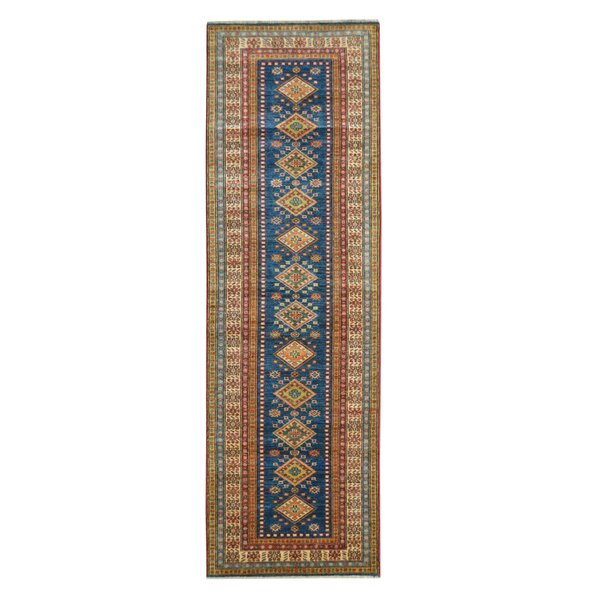 Kazak Hand-Knotted Blue/Beige Area Rug by Wildon Home ®