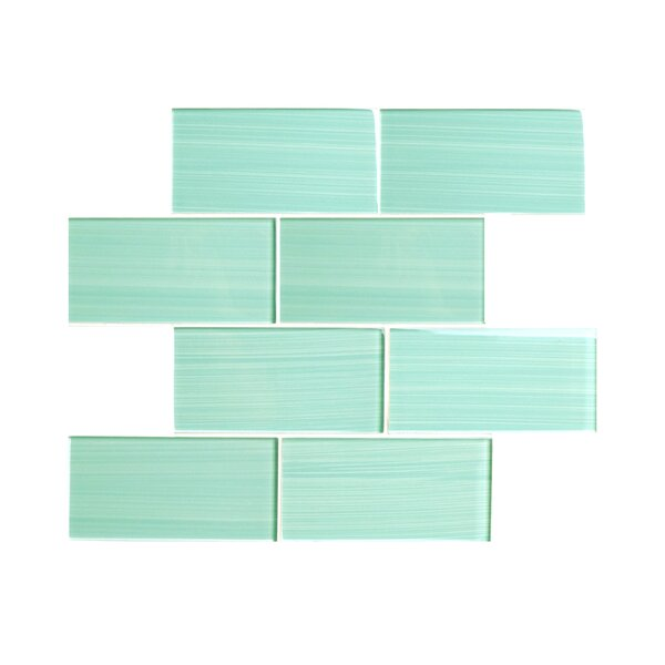 Hand Painted Series 3'' x 6'' Glass Subway Tile in Light Teal by WS Tiles