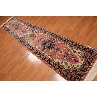 Best Price One-of-a-Kind Eberle Traditional Persian Hand-Knotted 2'7 x 12'1 Wool Black/Beige/Red Area Rug By Isabelline