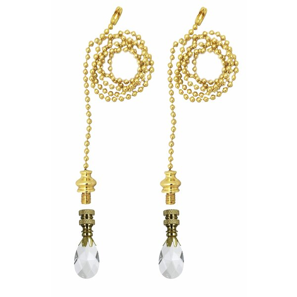 Fan Pull Chain with Teardrop Crystal Finial (Set of 2) by Royal Designs