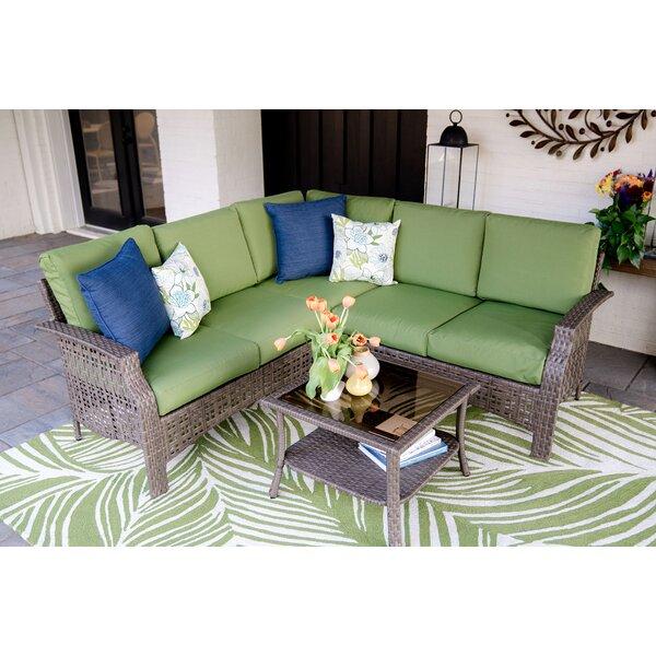 Kewstoke 4 Piece Sectional Seating Group with Cushions by Bayou Breeze Bayou Breeze