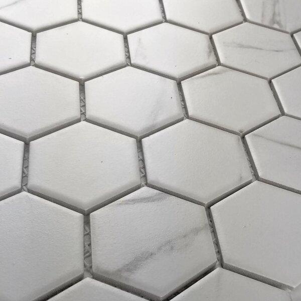 Monet Hexagon Nature Carrara 2 x 2 Porcelain Mosaic Tile in Matte White/Gray by Abolos