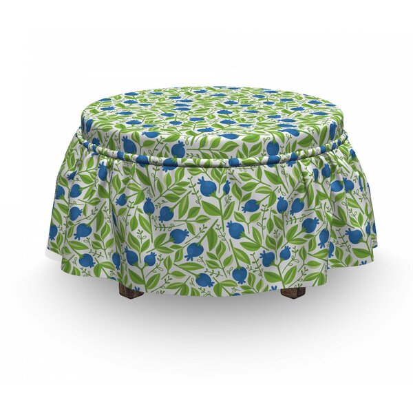 Fruits Flowering Blueberry Leaf 2 Piece Box Cushion Ottoman Slipcover Set By East Urban Home