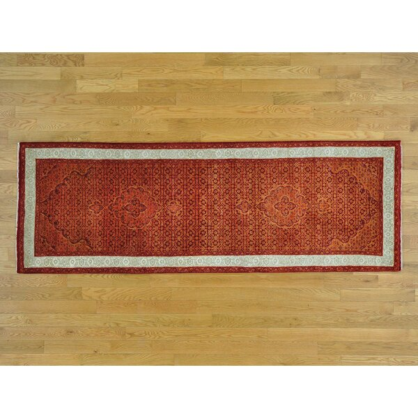 One-of-a-Kind Beaton Hand-Knotted Orange Wool Area Rug by Isabelline