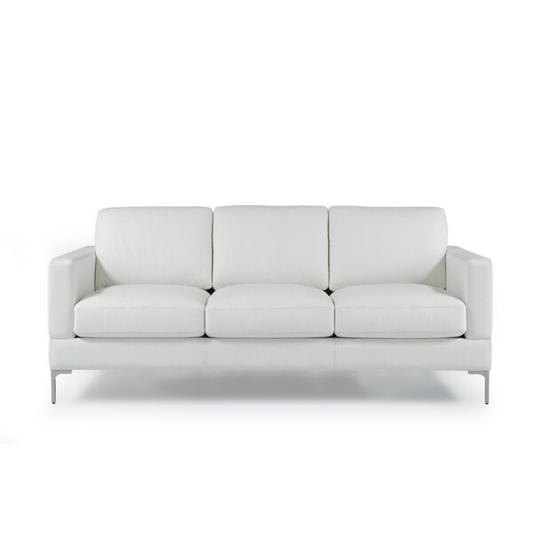 Dashing Kathrin Leather Contemporary Sofa by Orren Ellis by Orren Ellis