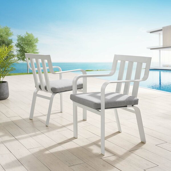 Metin Stacking Patio Dining Chair with Cushion (Set of 2) by Ebern Designs