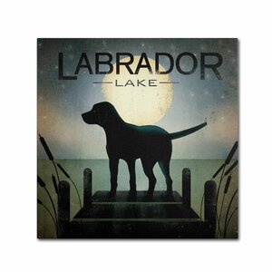 Moonrise Black Dog Labrador Lake by Ryan Fowler Graphic Art on Wrapped Canvas by Trademark Fine Art