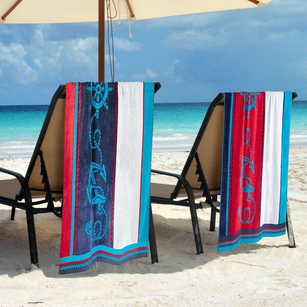 Makenna Sailing 2 Piece Egyptian Quality Cotton Beach Towel Set by Breakwater Bay