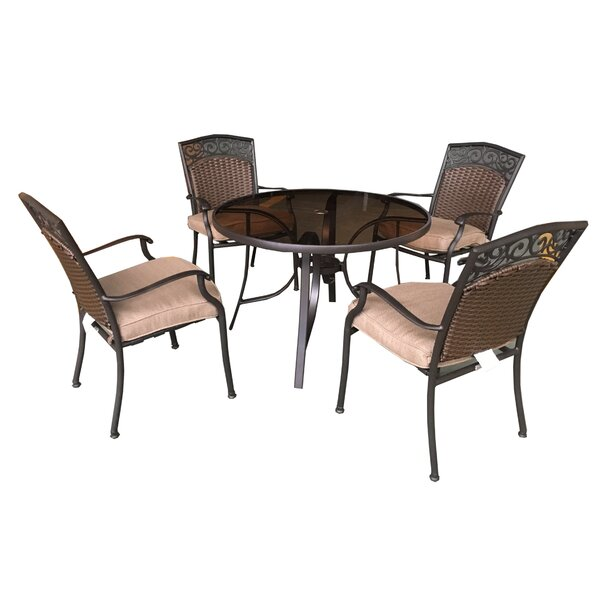 Portis 5 Piece Dining Set with Cushions by Huayue Alu,\m. Manu. Co. Ltd.
