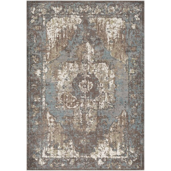 Almendarez Distressed Taupe/Pale Blue Area Rug by Bungalow Rose