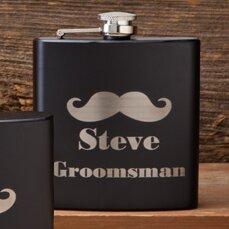 Matte Mustache Groomsmen Flask by JDS Personalized Gifts